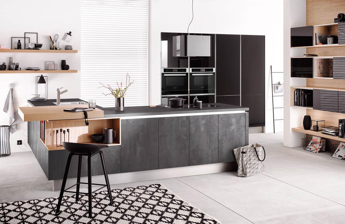 Scheffer Keukens Cometgl Geplamuurde Beton Grafiet